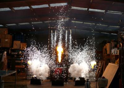 Indoor fireworks setup for training