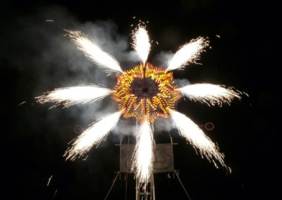 Proximate pyrotechnic shows