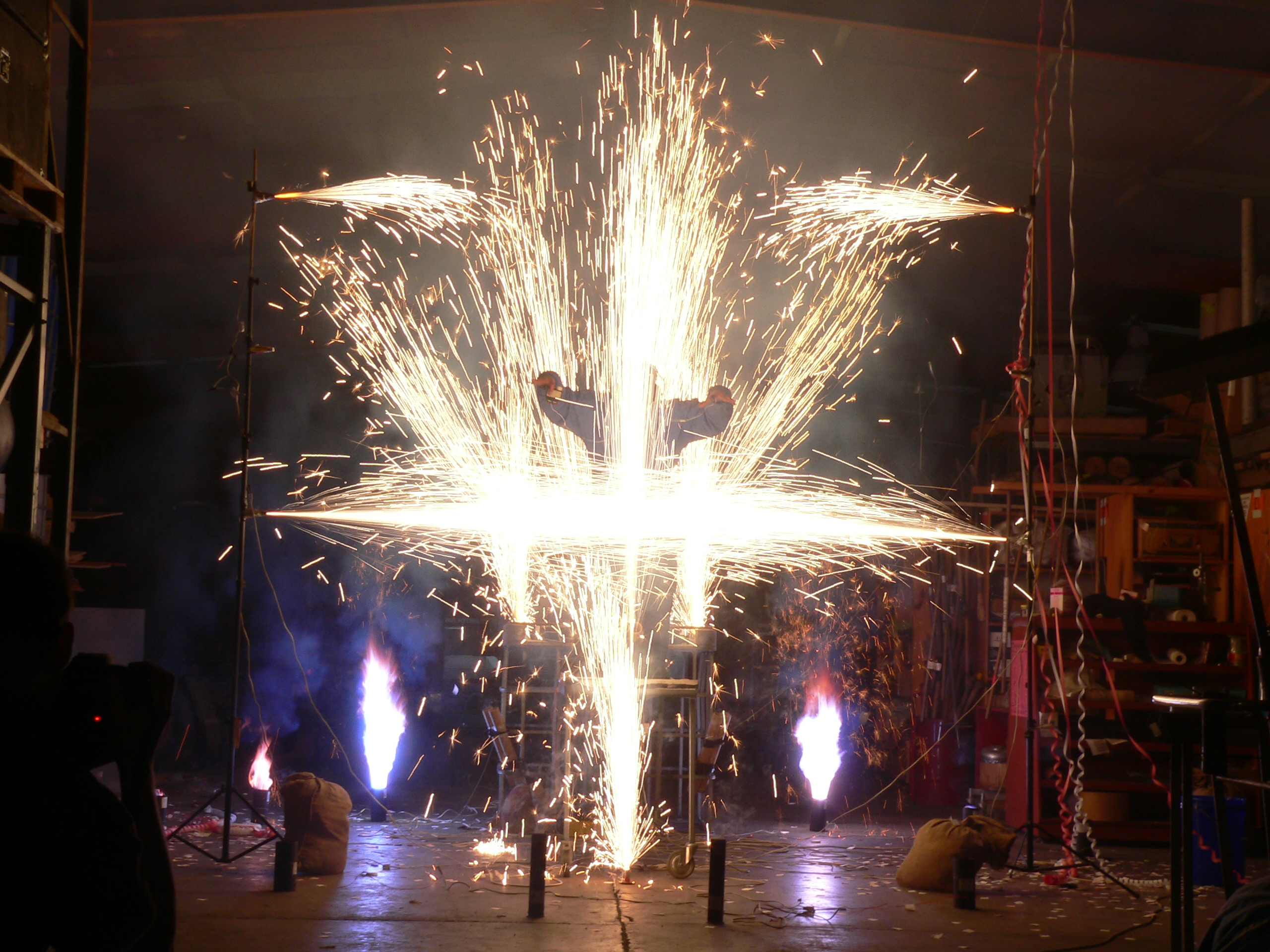Indoor fireworks demonstration