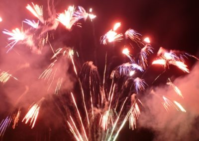 Outdoor fireworks at speedway shows