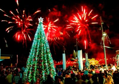 Westfield Xmas tree and fireworks